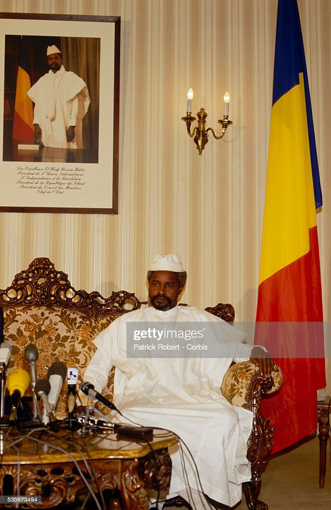 Chadian head of state Hissen Habre speaks to the press before his visit with President Mobutu Sese Seko of Zaire, later the Republic of Congo. Habre seized control of Chad in 1982, overthrowing the government of Goukouni Wedeye. He was deposed in December 1990 by his army Chief of Staff and current Chadian President Idriss Deby, who won the first multi-party presidential vote in 1996.