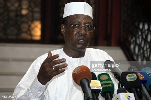 Chadian President Idriss Deby and his Sudanese counterpart Omar alBashir hold a joint press conference following their meeting in Khartoum Sudan on...