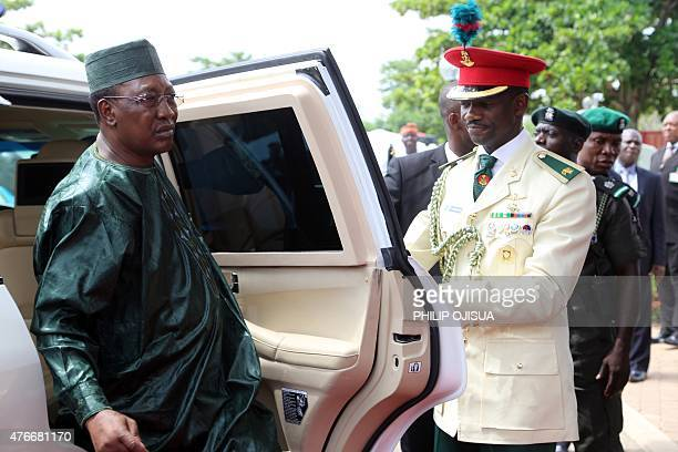Chadian President Idriss Deby arrives to attend the summit of the Lake Chad Basin Commission in Abuja on June 11 2015 Nigeria on June 11 called for...