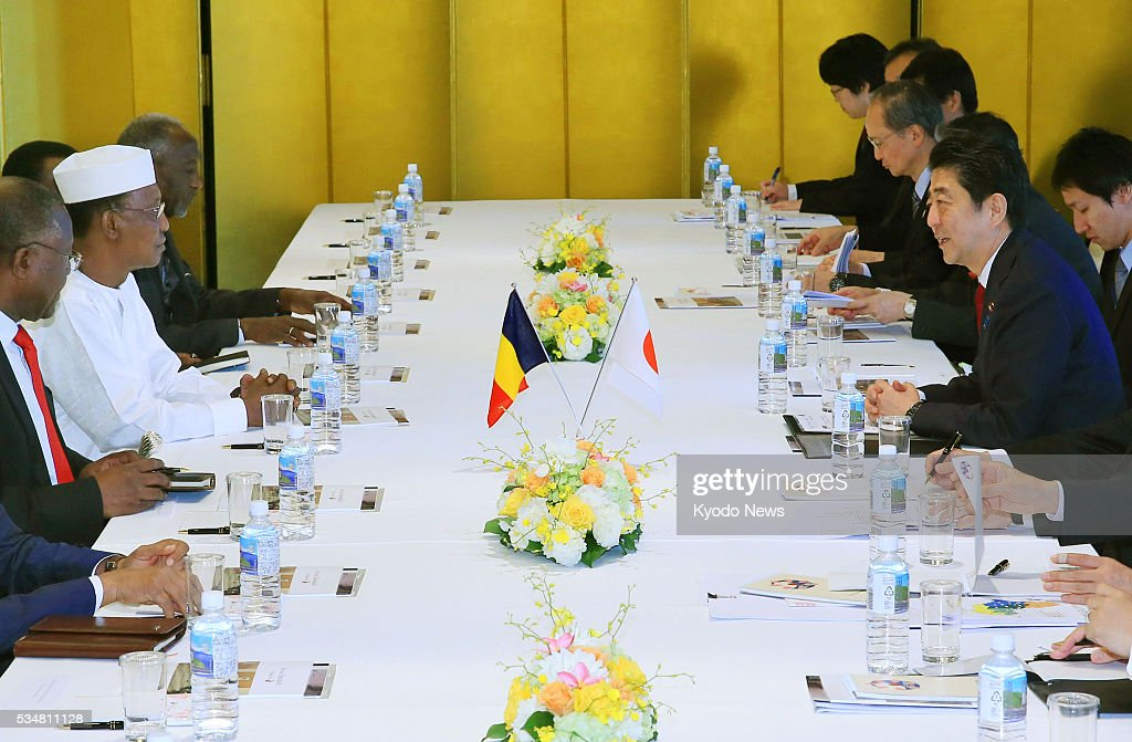 Chadian President Idriss Deby Itno (2nd from front, L) and Japanese Prime Minister <a gi-track='captionPersonalityLinkClicked' href=/galleries/search?phrase=Shinzo+Abe&family=editorial&specificpeople=559017 ng-click='$event.stopPropagation()'>Shinzo Abe</a> (front R) hold talks in Nagoya, central Japan on May 28, 2016. Abe and Deby Itno agreed to step up cooperation in efforts to reform the U.N. Security Council and ensure the success of the sixth Tokyo International Conference on African Development, or TICAD VI, slated for August in Kenya.