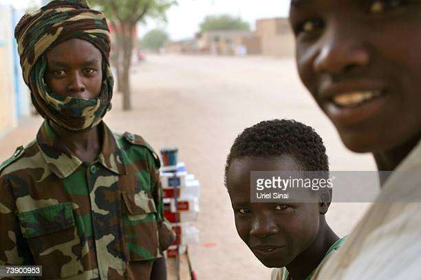 A Chadian soldier seen with Chadian children on the streets of Abeche Chad on April 2007 Tensions between Chad and Sudan have risen over recent weeks...