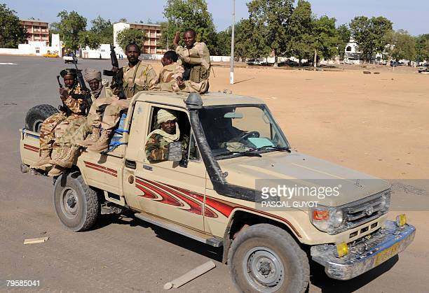 Chadian soldiers in a pickup patrol on February 6 2008 in Ndjamena French Defence Minister Herve Morin on an unannounced visit to Chad said he was...