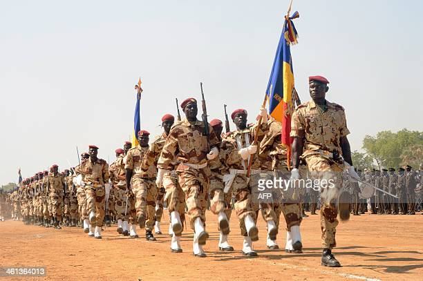 Chadian soldiers march during an event to celebrate the 23rd anniversary of Chadian ruling political party the Patriotic Salvation Movement in Bongor...