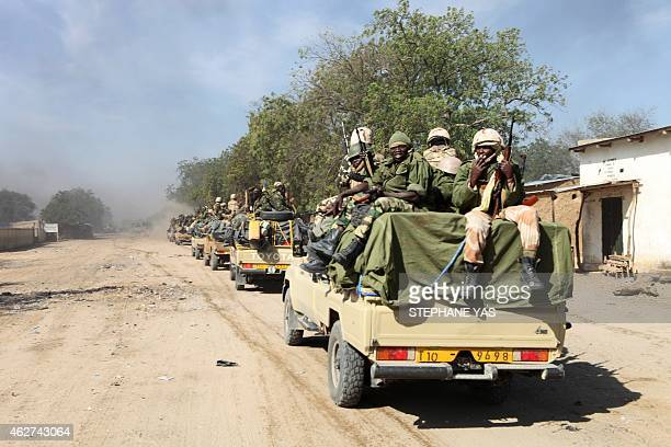 Chadian soldiers patrol in the Nigerian border town of Gamboru on February 4 after taking control of the city Around 2000 Chadian troops backed by...