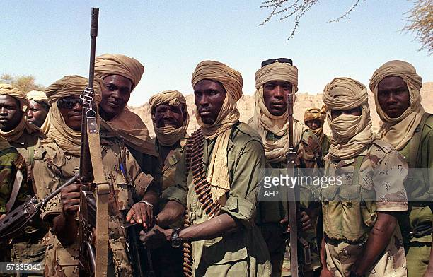 Chadian soldiers patrol in the Tibesti area 28 March 1999 near Bardai where some 500 soldiers are deployed The European Commission voiced deep...