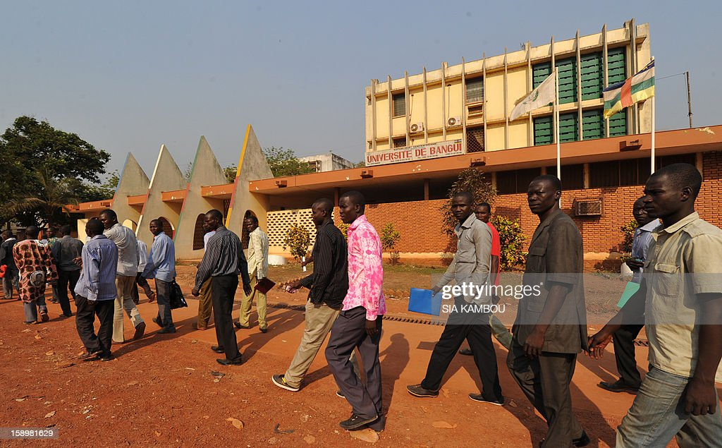 Chadian students leave after a meeting with journalists on the subject of the crisis in the region at Bangui university on January 4, 2013.