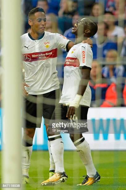 Chadrac Akolo Ababa of Stuttgart celebrates after scoring his team`s first goal during the Bundesliga match between FC Schalke 04 and VfB Stuttgart...