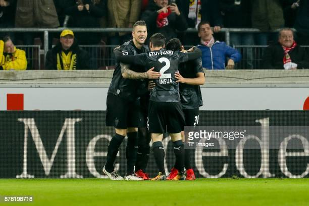 Chadrac Akolo of Stuttgart celebrates after scoring his team`s first goal with team mates during the Bundesliga match between VfB Stuttgart and...