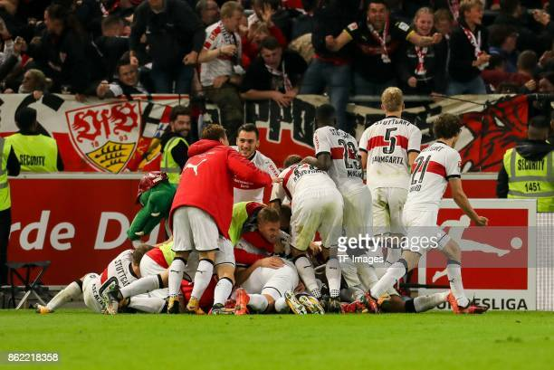 Chadrac Akolo of Stuttgart celebrates after scoring his team`s second goal with team mates during the Bundesliga match between VfB Stuttgart and 1 FC...
