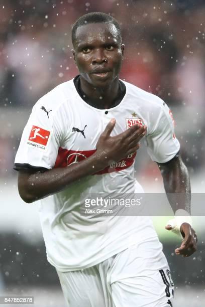 Chadrac Akolo of Stuttgart celebrates his first goal to make it 10 during the Bundesliga match between VfB Stuttgart and VfL Wolfsburg at...