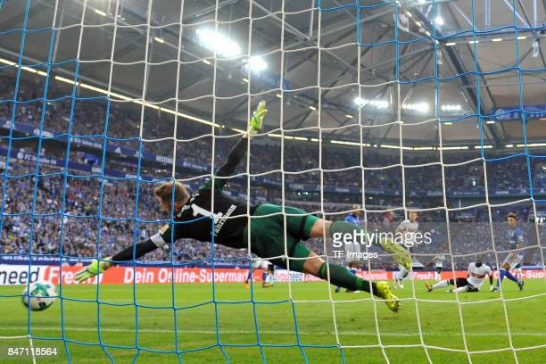 Chadrac Akolo of Stuttgart scores a goal during the Bundesliga match between FC Schalke 04 and VfB Stuttgart at VeltinsArena on September 10 2017 in...