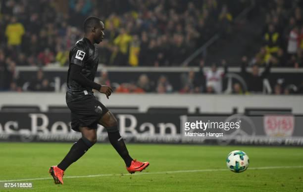 Chadrac Akolo of Stuttgart scores his teams first goal during the Bundesliga match between VfB Stuttgart and Borussia Dortmund at MercedesBenz Arena...