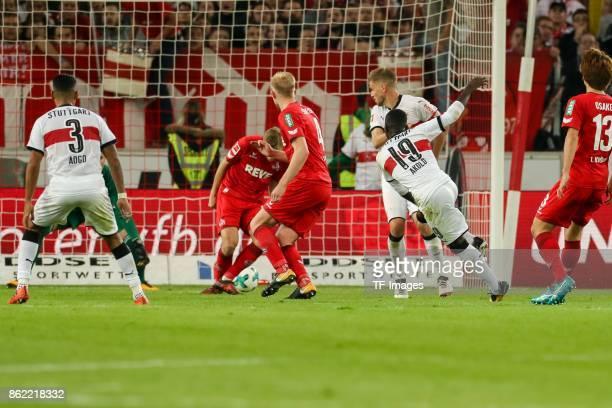 Chadrac Akolo of Stuttgart scores the team`s second goal during the Bundesliga match between VfB Stuttgart and 1 FC Koeln at MercedesBenz Arena on...