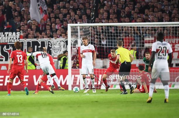 Chadrac Akolo of VfB Stuttgart scores a goal during the Bundesliga match between VfB Stuttgart and 1 FC Koeln at MercedesBenz Arena on October 13...