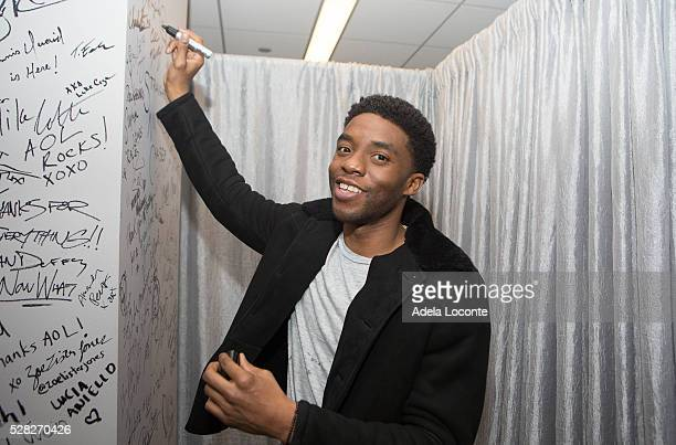 Chadwick Boseman attends the AOL Speaker Series to discuss 'Captain America Civil War' at AOL Studios In New York on May 4 2016 in New York City