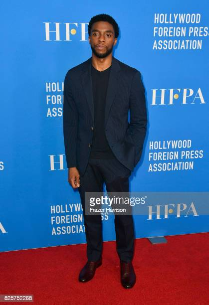 Chadwick Boseman attends the Hollywood Foreign Press Association's Grants Banquet at the Beverly Wilshire Four Seasons Hotel on August 2 2017 in...