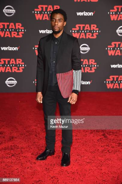 Chadwick Boseman attends the premiere of Disney Pictures and Lucasfilm's 'Star Wars The Last Jedi' at The Shrine Auditorium on December 9 2017 in Los...