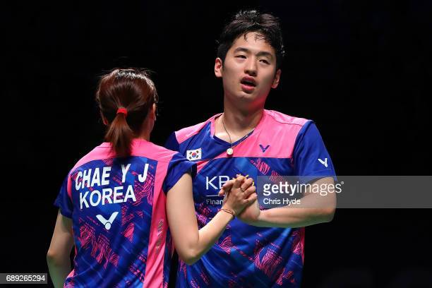 Chae Yoo Jung and Choi Solgyu of Korea celebrate a point during the Final match against Lu Kai and Huang Yaqiong of China during the Sudirman Cup at...
