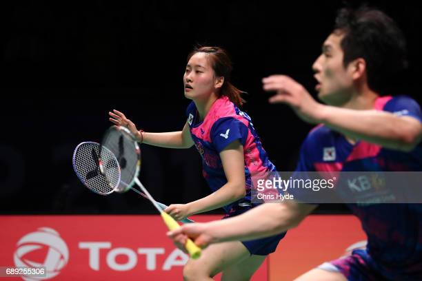 Chae Yoo Jung and Choi Solgyu of Korea compete during the Final match against China during the Sudirman Cup at the Carrara Sports Leisure Centre on...