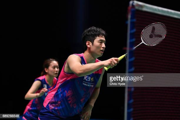 Chae Yoo Jung and Choi Solgyu of Korea compete during the Final match against Lu Kai and Huang Yaqiong of China during the Sudirman Cup at the...