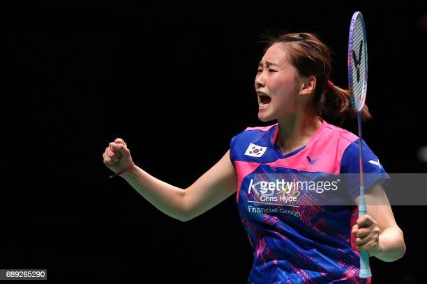Chae Yoo Jung of Korea celebrates a point during the Final match partnered with Choi Solgyu against Lu Kai and Huang Yaqiong of China during the...