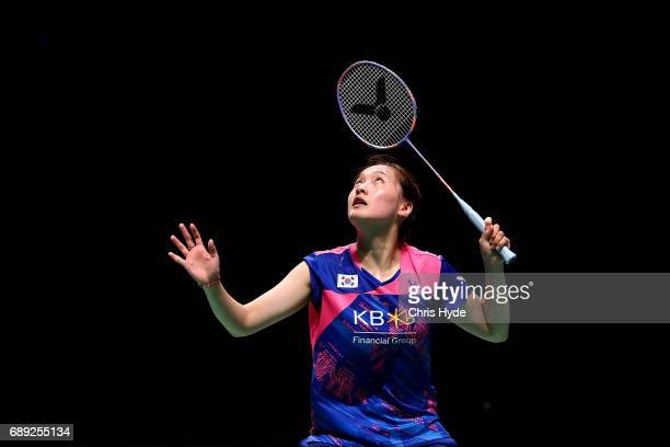 Chae Yoo Jung of Korea competes during the Final match against China during the Sudirman Cup at the Carrara Sports Leisure Centre on May 28 2017 in...