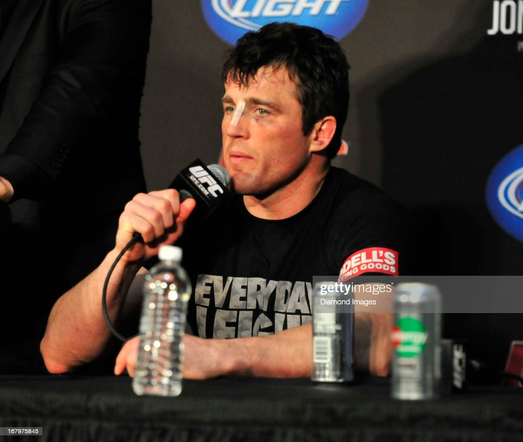 Chael Sonnen answers questions from the media after UFC 159 Jones v. Sonnen at Prudential Center in Newark, New Jersey.
