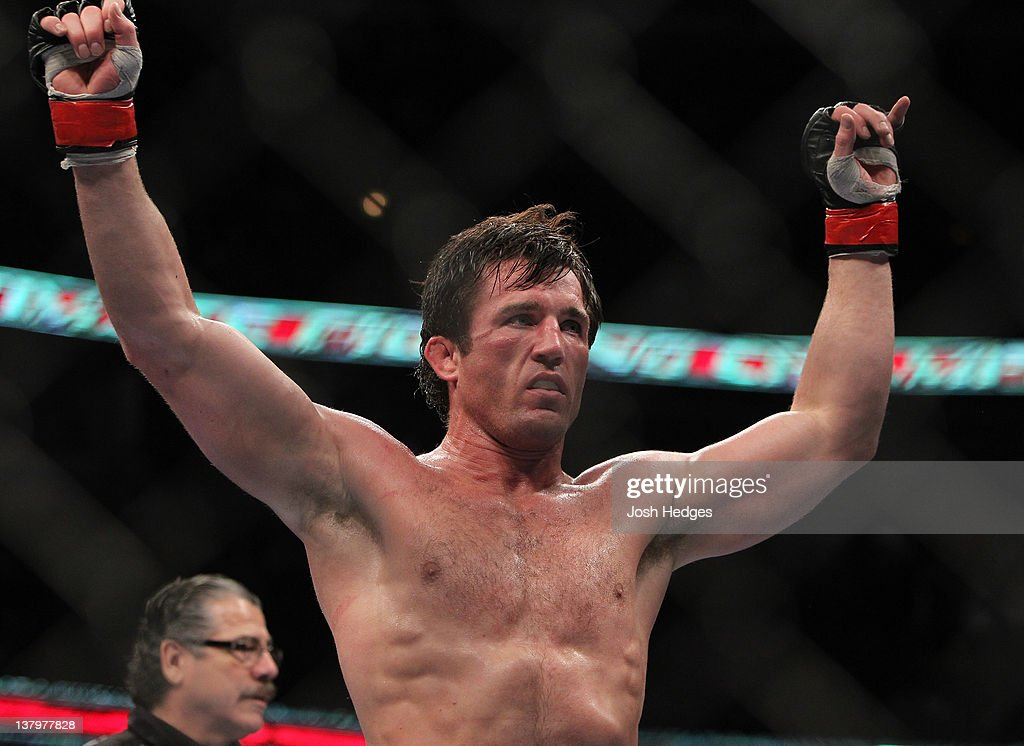<a gi-track='captionPersonalityLinkClicked' href=/galleries/search?phrase=Chael+Sonnen&family=editorial&specificpeople=5434559 ng-click='$event.stopPropagation()'>Chael Sonnen</a> reacts after defeating Michael Bisping during the UFC on FOX event at United Center on January 28, 2012 in Chicago, Illinois.