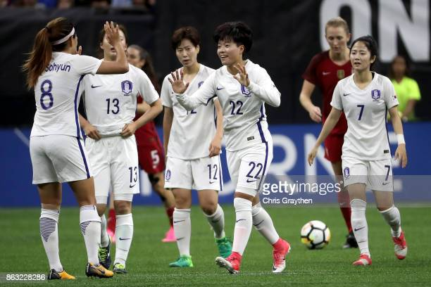 Chaerin Han of the Korea Republic celebrates after scoring against the USA at the MercedesBenz Superdome on October 19 2017 in New Orleans Louisiana