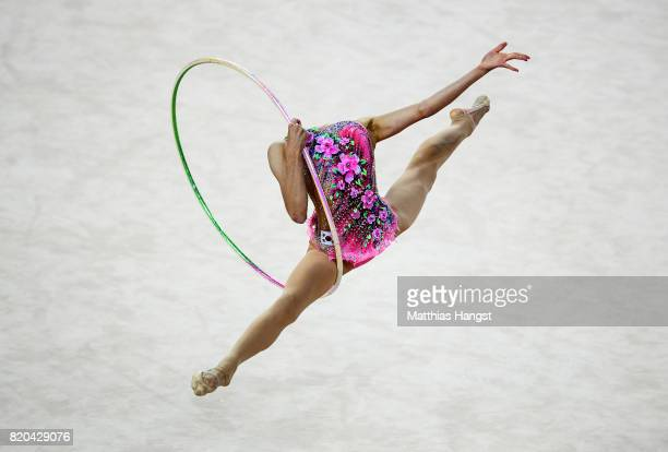 Chaewoon Kim of South Korea competes during the Rhythmic Gymnastics Women's Individual Hoop Qualification of The World Games at Centennial Hall on...