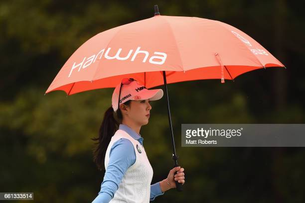 ChaeYoung Yoon of Korea looks on at the second hole during the second round of the YAMAHA Ladies Open Katsuragi at the Katsuragi Golf Club Yamana...