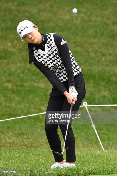 ChaeYoung Yoon of South Korea chips onto the 12th green during the first round of the Nobuta Group Masters GC Ladies at the Masters Golf Club on...
