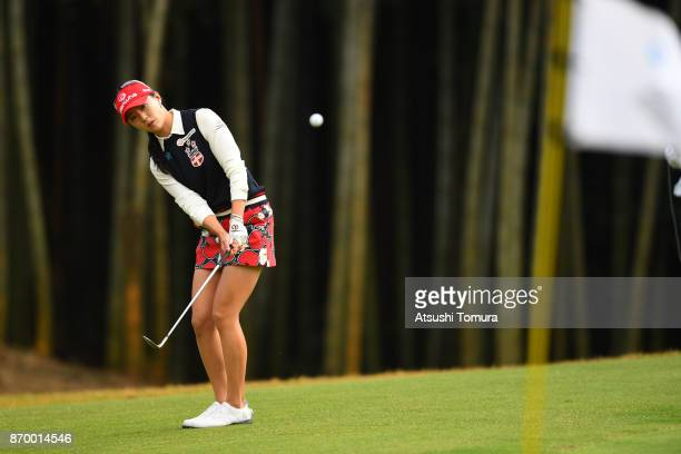 ChaeYoung Yoon of South Korea chips onto the 17th green during the second round of the TOTO Japan Classics 2017 at the Taiheiyo Club Minori Course on...