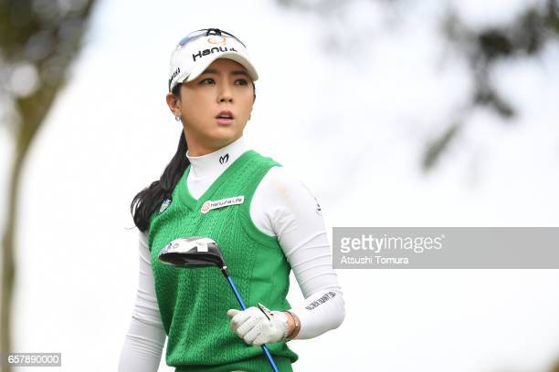 ChaeYoung Yoon of South Korea chips onto the 3rd green during the final round of the AXA Ladies Golf Tournament at the UMK Country Club on March 26...