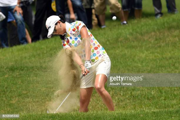 ChaeYoung Yoon of South Korea hits from a bunker on the 8th hole during the second round of the Century 21 Ladies Golf Tournament 2017 at the Seta...