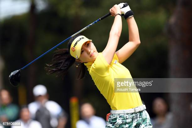 ChaeYoung Yoon of South Korea hits her tee shot on the 11th hole during the first round of the World Ladies Championship Salonpas Cup at the Ibaraki...