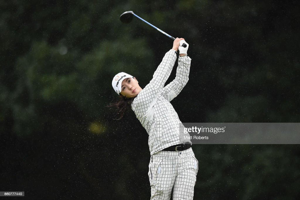 Chae-Young Yoon of South Korea hits her tee shot on the 3rd hole during the first round of the Fujitsu Ladies 2017 at the Tokyu Seven Hundred Club on October 13, 2017 in Chiba, Japan.