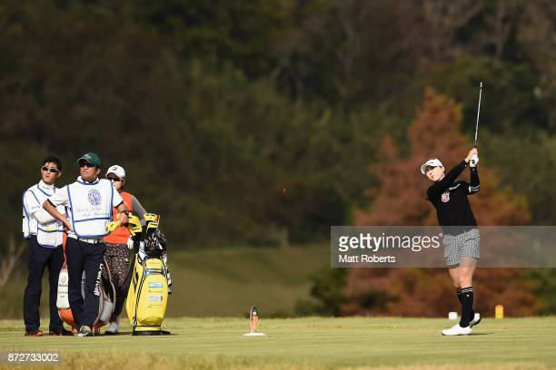 ChaeYoung Yoon of South Korea hits her tee shot on the 7th hole during the second round of the Itoen Ladies Golf Tournament 2017 at the Great Island...