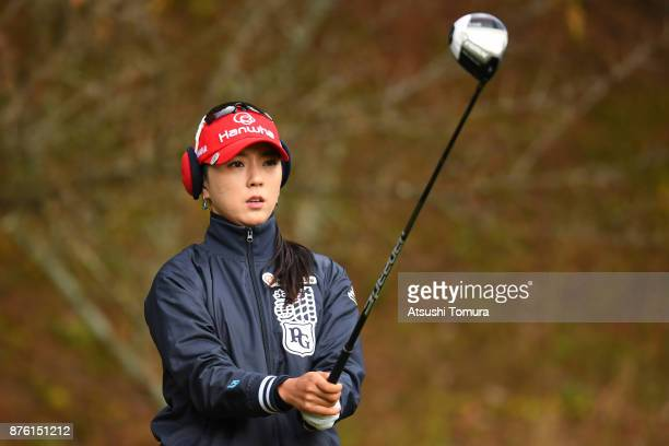 ChaeYoung Yoon of South Korea lines up her tee shot on the 2nd hole during the final round of the Daio Paper Elleair Ladies Open 2017 at the Elleair...