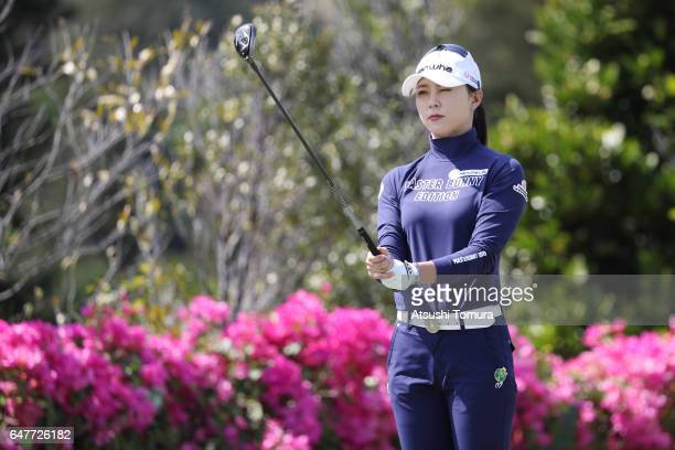 ChaeYoung Yoon of South Korea lines up her tee shot on the 3rd hole during the third round of the Daikin Orchid Ladies Golf Tournament at the Ryukyu...