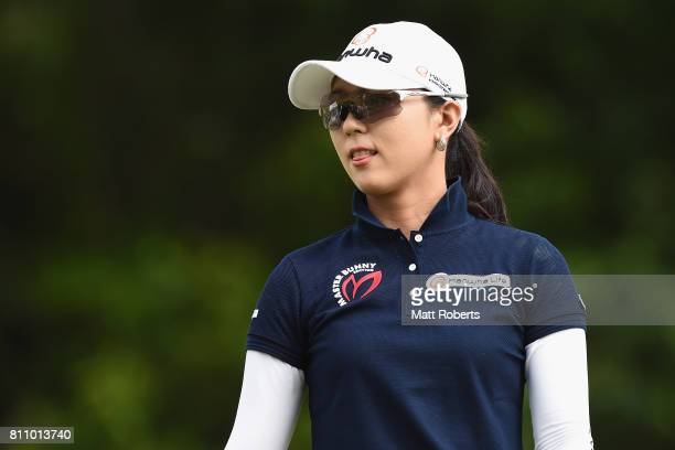 ChaeYoung Yoon of South Korea looks on after her tee shot on the 10th hole during the final round of the Nipponham Ladies Classics at the Ambix...