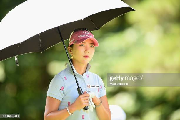 ChaeYoung Yoon of South Korea looks on during the third round of the 50th LPGA Championship Konica Minolta Cup 2017 at the Appi Kogen Golf Club on...