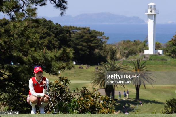 ChaeYoung Yoon of South Korea looks over a green on the 13th hole during the final round of Fujisankei Ladies Classic at the Kawana Hotel Golf Course...