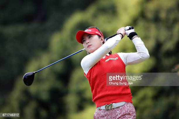 ChaeYoung Yoon of South Korea plays a tee shot on the 3rd hole during the final round of Fujisankei Ladies Classic at the Kawana Hotel Golf Course...