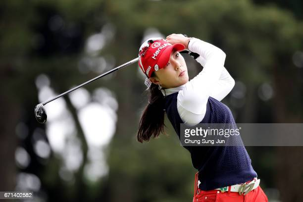 ChaeYoung Yoon of South Korea plays a tee shot on the 4th hole during the second round of Fujisankei Ladies Classic at the Kawana Hotel Golf Course...
