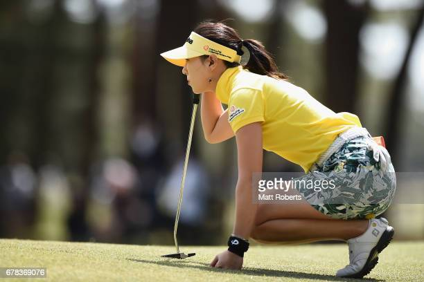 ChaeYoung Yoon of South Korea prepares to putt on the 7th green during the first round of the World Ladies Championship Salonpas Cup at the Ibaraki...