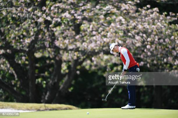 ChaeYoung Yoon of South Korea putts on the 14th hole during the first round of the CyberAgent Ladies Golf Tournament at the Grand Fields Country Club...