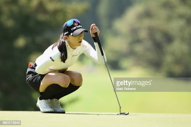 ChaeYoung Yoon of South Korea waits to putt on the 4th green during the second round of the HokennoMadoguchi Ladies at the Fukuoka Country Club...