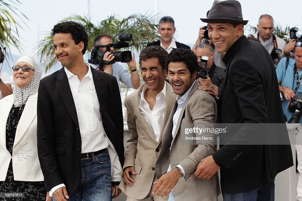 Chafia Boudraa, Sami Bouajila, Director Rachid Bouchareb, Jamel Debbouze and Roschdy Zem attend the 'Outside Of The Law' Photocall at the Palais des Festivals during the 63rd Annual Cannes Film Festival on May 21, 2010 in Cannes, France.