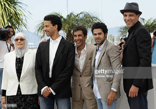 Chafia Boudraa Sami Bouajila Director Rachid Bouchareb Jamel Debbouze and Roschdy Zem attend the 'Outside Of The Law' Photocall at the Palais des...